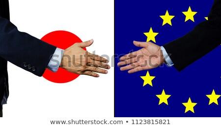 Eu Japonia Shake Hands ręce strony spotkanie Zdjęcia stock © Zerbor