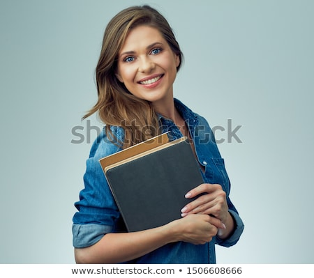 Mulher livros sorrindo sorridente livro Foto stock © imagedb