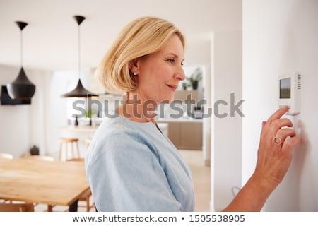 mujer · termostato · central · calefacción · control · casa - foto stock © andreypopov