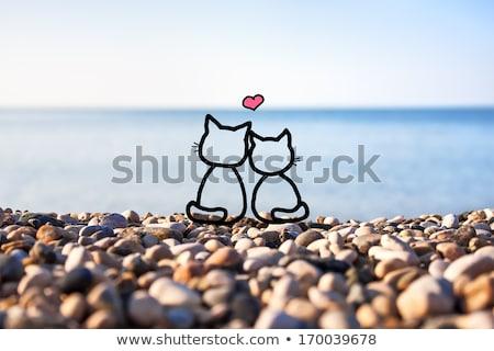dois · corações · blue · sky · fora · foco · amor - foto stock © kirs-ua
