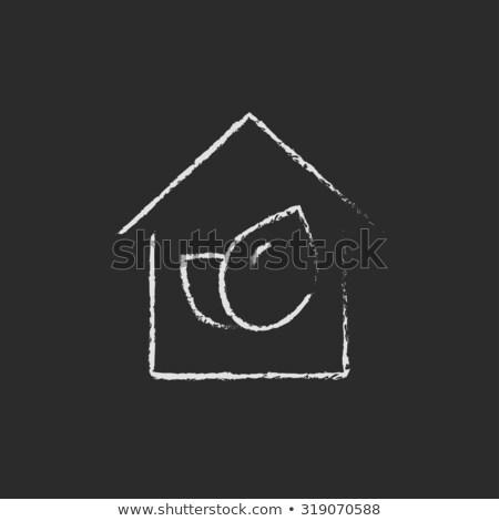 Eco-friendly house icon drawn in chalk. Stock photo © RAStudio