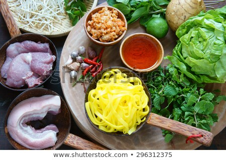 Voedsel grondstof varkensvlees vlees salade Stockfoto © xuanhuongho