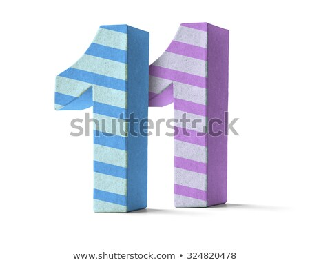 Colorful Paper Mache Number on a white background  - Number 11 Stock photo © Zerbor