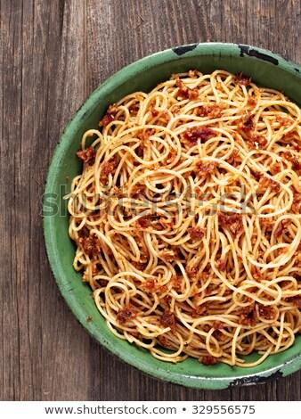 pasta · pesto · delicioso · macarrones · mesa · de · madera · alimentos - foto stock © zkruger