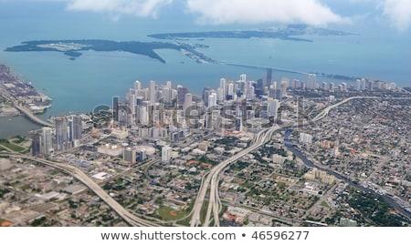 miami city downtown aerial view blue sea stock photo © lunamarina