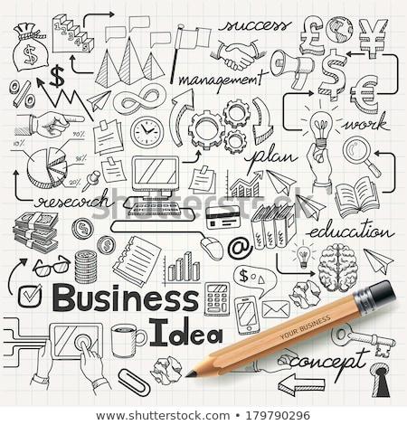 Stock fotó: Kézzel · rajzolt · üzlet · ikon · szett · firka · nyilak · diagramok