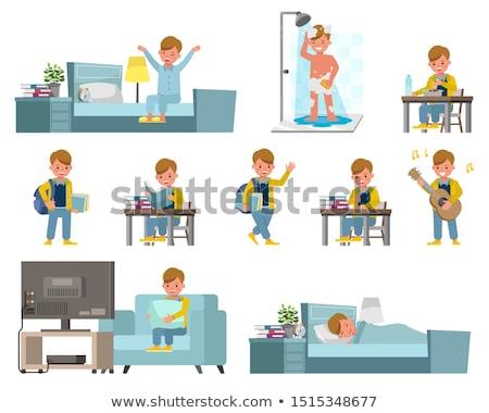 Pequeno menino jardim de infância cara educação tabela Foto stock © Paha_L