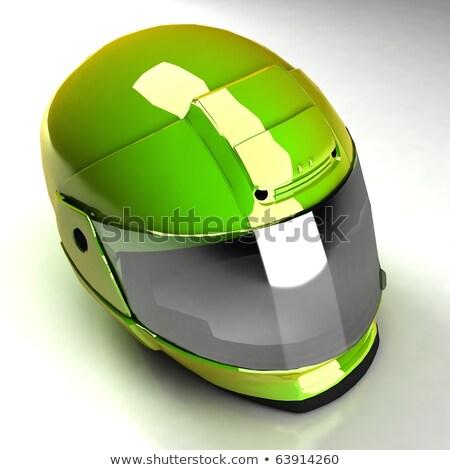 Verde brilhante motocicleta capacete isolado raça Foto stock © shutswis