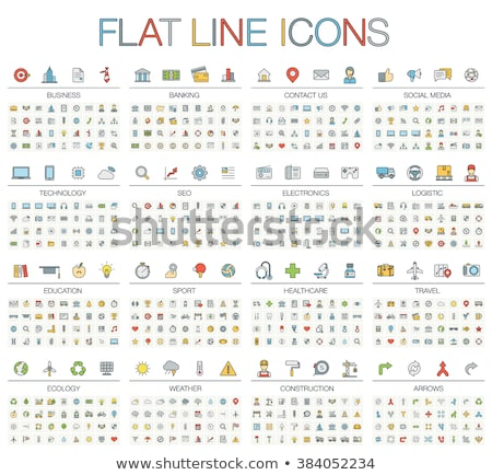 Stock photo: Line Health Care and Medicine Colorful Flat Icons Set