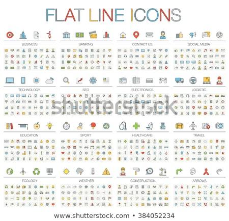 line health care and medicine colorful flat icons set stock photo © anna_leni