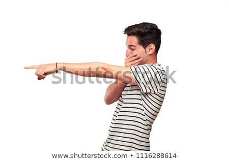 Sideways view of attractive laughing man Stock photo © ozgur