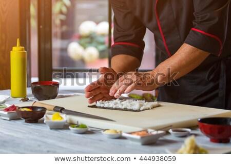 Foto d'archivio: Ingredienti · sushi · zenzero · wasabi · riso · salsa · di · soia