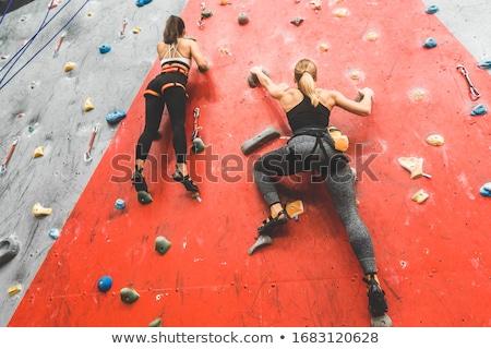Rotsklimmen muur blauwe hemel hemel sport rock Stockfoto © njnightsky