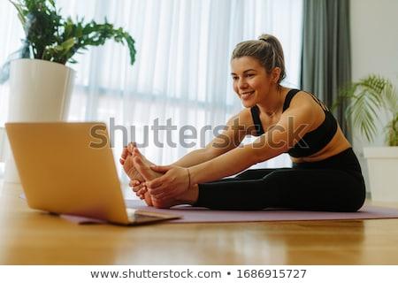 Szőke nő lány sportruha aranyos részben fehér Stock fotó © bezikus