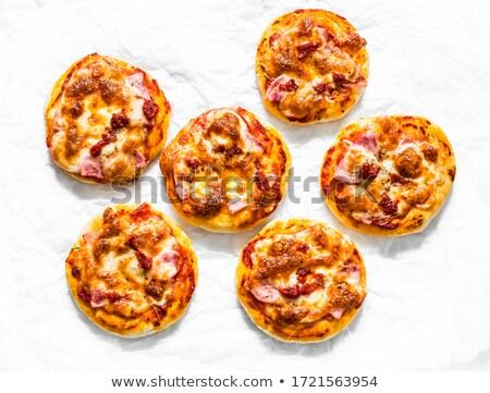 Foto stock: Mini · tabela · caseiro · pizza · ovo · frito · páscoa