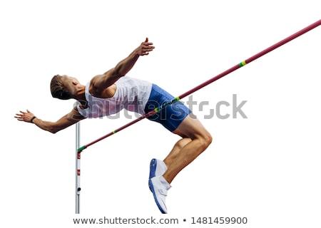 Hoogspringen track veld man sport fitness Stockfoto © OleksandrO
