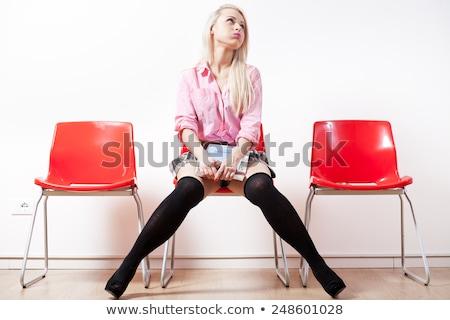 öğrenci kız bekleme odası sıkılmış kırmızı Stok fotoğraf © Giulio_Fornasar