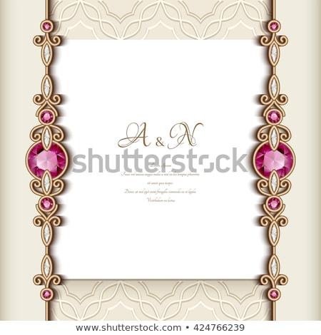 esküvő · ékszer · keret · ékszerek · gyűrű · házasság - stock fotó © OliaNikolina