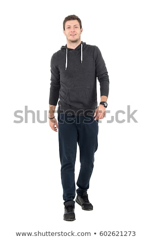 smiling young handsome man in brown sweate Stock photo © feedough