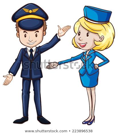 Egyszerű rajz pilóta utaskíserő illusztráció fehér Stock fotó © bluering