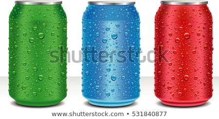 red aluminum cans closeup with water drops stock photo © kayros