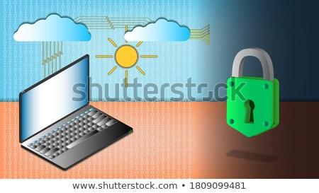Lock on the computer keyboard isometry Stock photo © Oakozhan