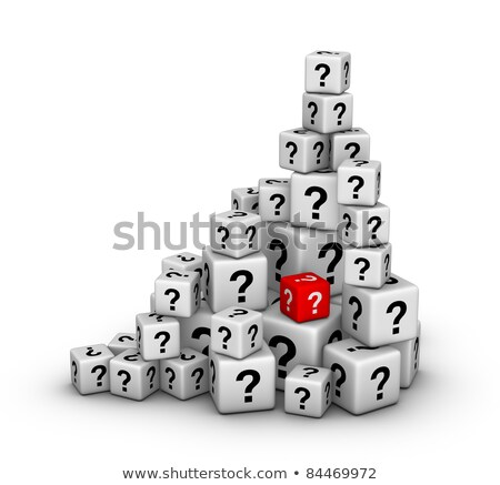 A heap of red cubes with question mark symbol. stock photo © almagami