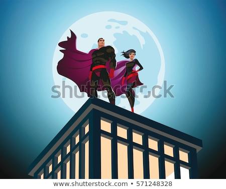 Férfi szuperhős póz sziluett erős férfi Stock fotó © comicvector703