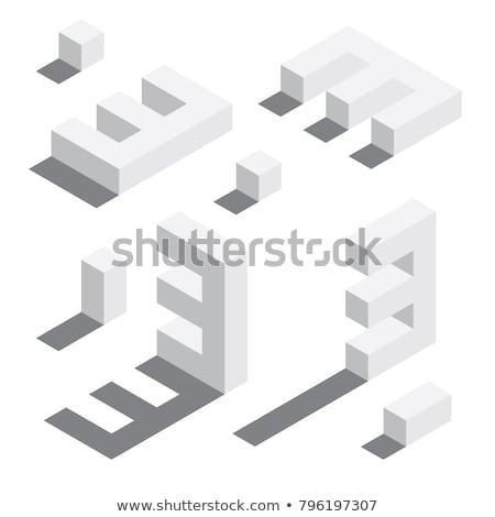Spadek cień cyfra numer trzy 3D Zdjęcia stock © djmilic