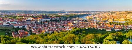 overview of historic centre at sunset prague czech republic stock photo © kirill_m