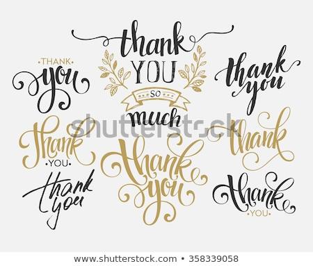 Köszönjük kalligrafikus felirat szett köszönet kézzel rajzolt Stock fotó © Andrei_