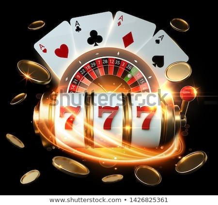 Altın madeni para kumar siyah beyaz oynama Stok fotoğraf © day908