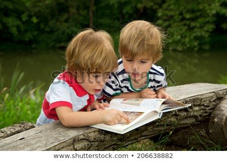 Erkek okuma kitap gölet örnek çocuk Stok fotoğraf © bluering