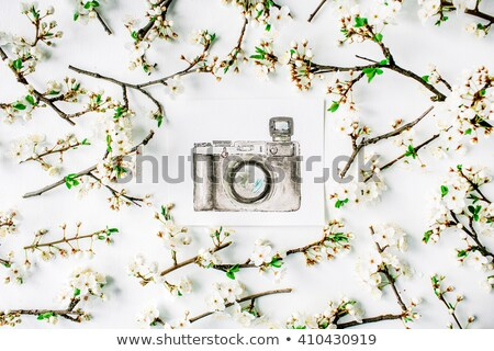 Retro camera and watercolor paintings on white table background Stock photo © manera