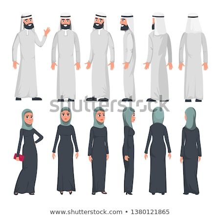 Set of different standing arab women in the traditional muslim a stock photo © NikoDzhi