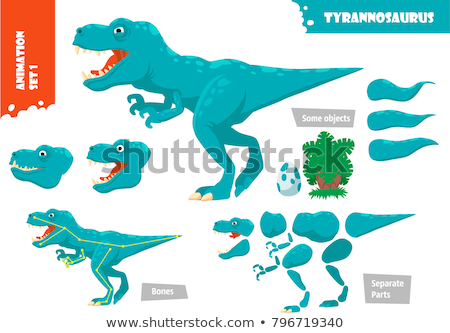 Vector flat style set of colorful prehistoric dinosaurs and anim Stock photo © curiosity