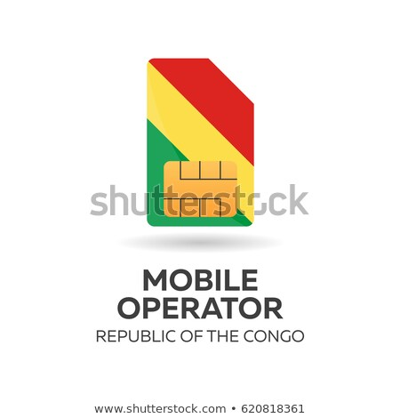 republic of the congo mobile operator sim card with flag vector illustration stock photo © leo_edition