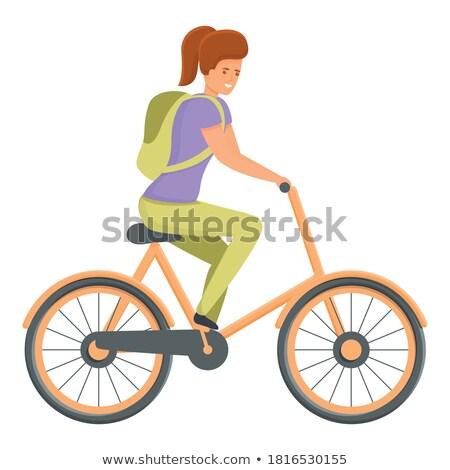 Retro vektör kadın bisiklet bağbozumu bisiklet Stok fotoğraf © NikoDzhi