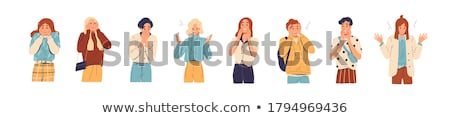 Stock photo: Surprised woman emotional character concept flat cartoon vector