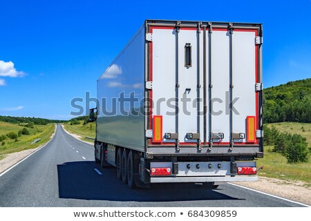 Picture of big truck with the trailer moves on the highway Stock photo © Nobilior