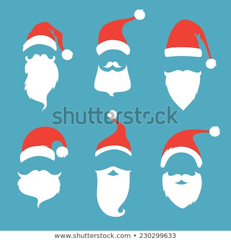 christmas card with moustaches and santa claus cap stock photo © barbaliss