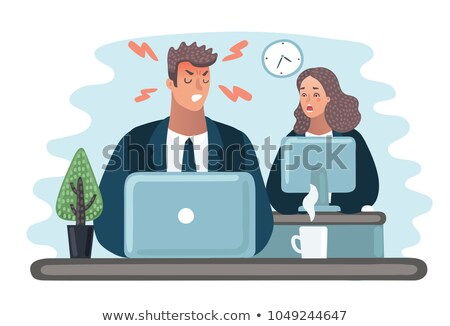 Angry Boss is scolding manager. Office life. Businessman screami Stock photo © MaryValery