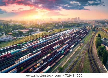 Luchtfoto kleurrijk treinen treinstation vracht Stockfoto © denbelitsky