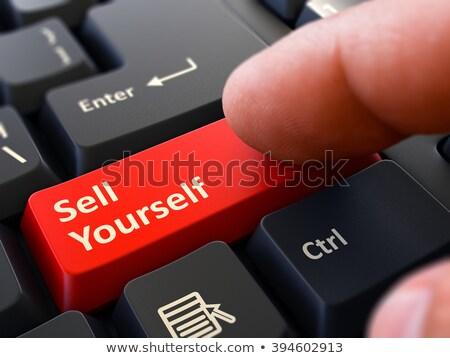 Kisajtolás piros gomb elad magad fekete Stock fotó © tashatuvango