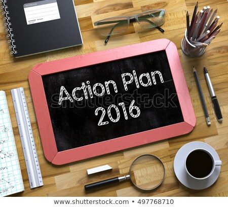 Action Plan 2016 on Small Chalkboard. 3D. Stock photo © tashatuvango