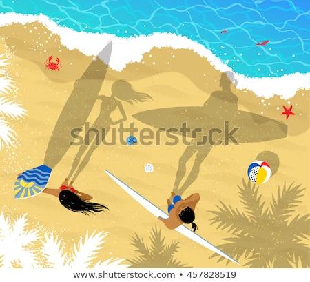 surfista · playa · verano · naranja · océano · silueta - foto stock © sonya_illustrations