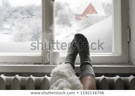 Vrouw venster warme drank huis koffie leuk Stockfoto © IS2