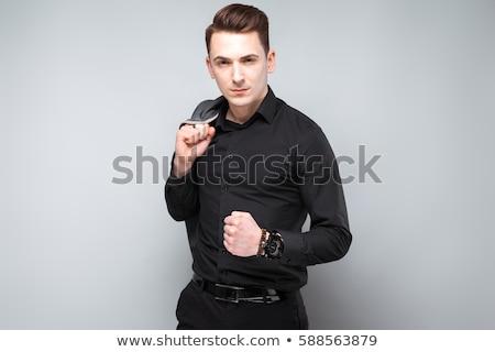 Genç çekici işadamı gri ceket pahalı Stok fotoğraf © Traimak