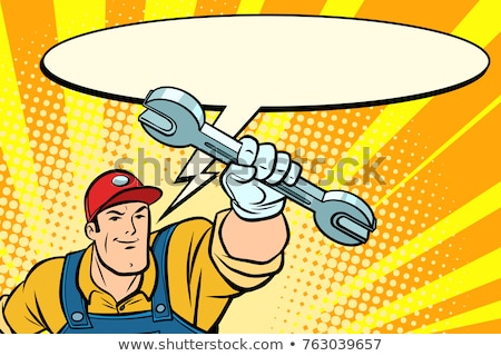 Male repairman with a wrench says comic book bubble Stock photo © rogistok