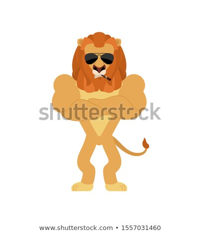 Lion Strong Cool serious. Wild animal smoking cigar emoji. beast Stock photo © popaukropa
